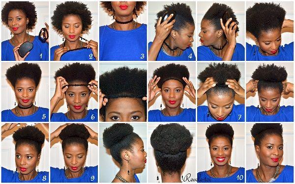 Naturalhair Tutorial 1 The Bun Natural Hair Styles Curly Hair Styles Hair Styles
