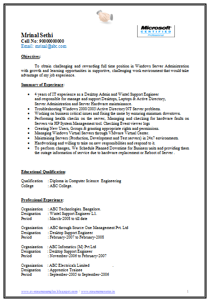 Exceptionnel It Support Engineer Sample Resume Appealing Server Support Engineer Resume  62 On Creative Resume .