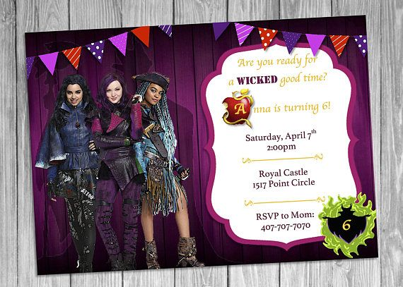 Mal Evie Uma Descendants Invitation 2