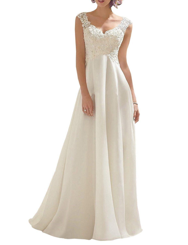 Abaowedding womenus double vneck sleeveless lace wedding dress