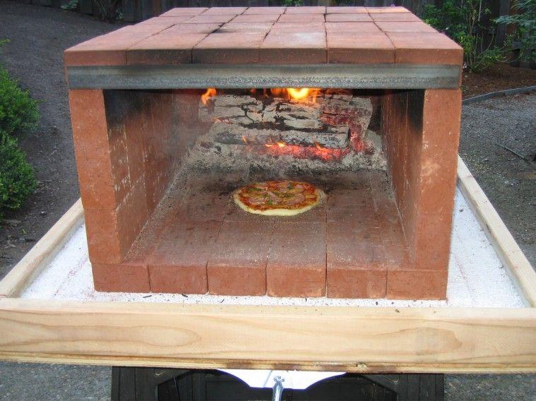 Exterior Simple Minimalist Long Rectangular Brick Pizza Ovens In