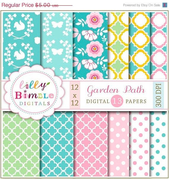 50 off Garden Party digital papers with flowers by LillyBimble, $2.50
