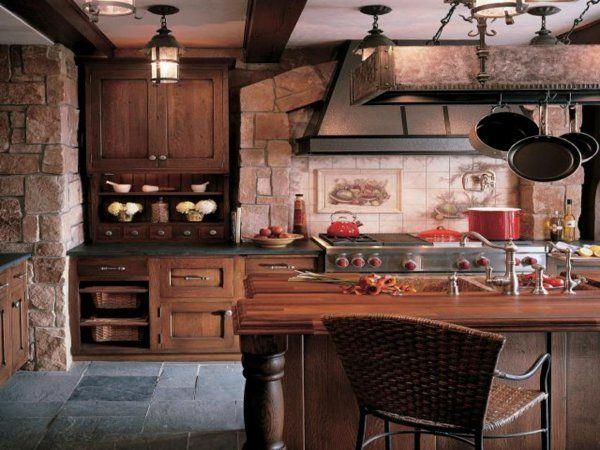 moderne landhausküchen design wandschrank holz ziegel | Küche ... | {Landhausküchen holz 16}