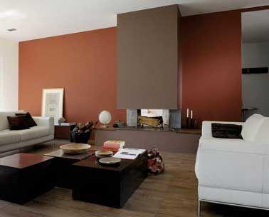 awesome dco salon peinture salon cosy rouge brique et couleur taupe