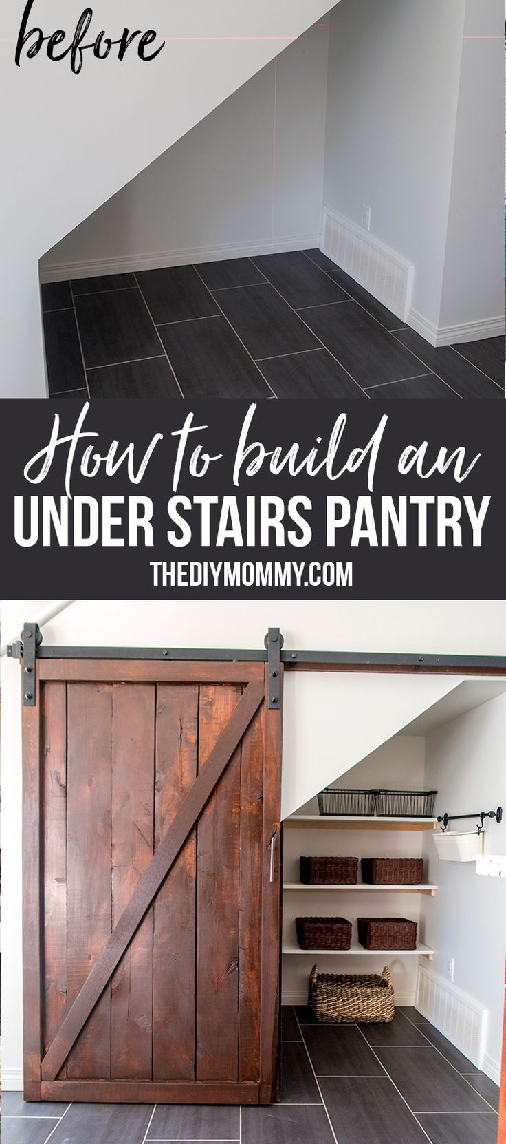 Hallway storage with sliding doors  Great idea How to build an under the stairs pantry with a DIY