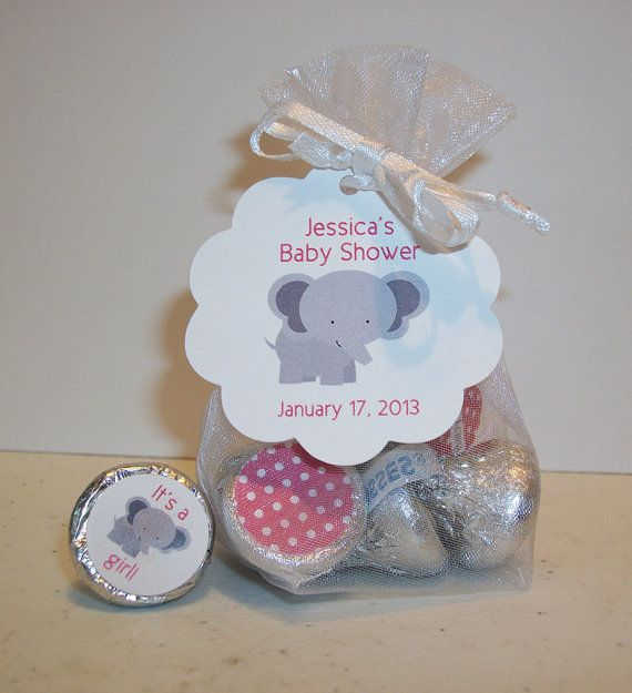 Baby Shower Favor Kits For HERSHEYu0027S KISSES (kiss18) Girl Elephant Organza  Bags Hang Tags