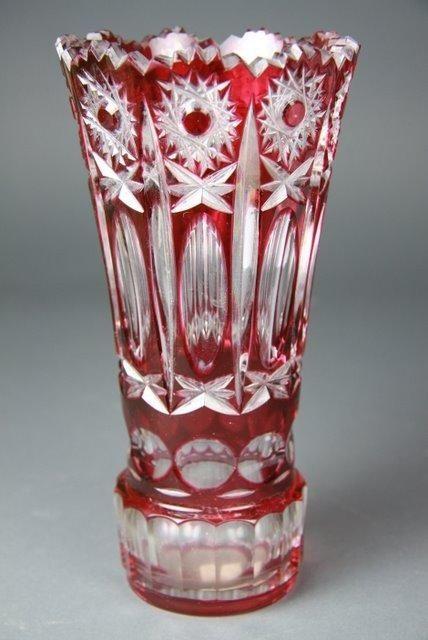A Bohemian Ruby Overlay Cut Glass Vase C 20th Century Cristaleria