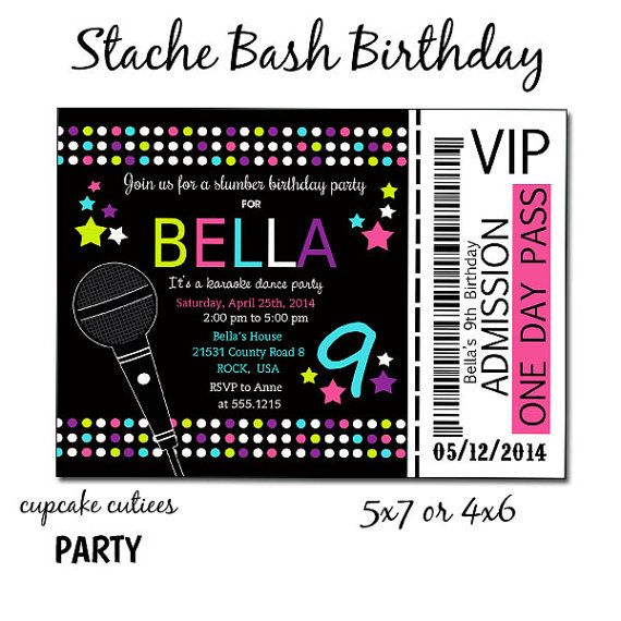 Slumber Party Karaoke Neon Full Invite Ticket Digital Custom
