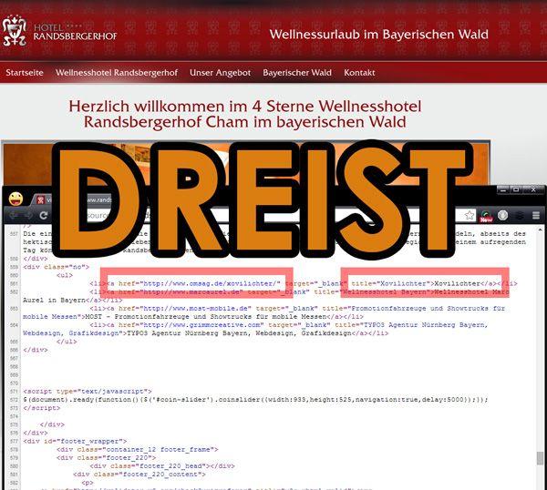 Dreist: Im Zuge eines #SEO-Contest hat eine deutsche Agentur auf Kundenseiten Hidden Links eingebaut. Ein höchst fragwürdiges Vorgehen.