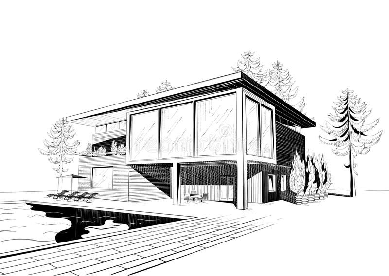 Vector Background With Modern House With Swimming Vector Black And White Sketch Affiliate Ho Architecture Sketch House Sketch Architecture Design Drawing