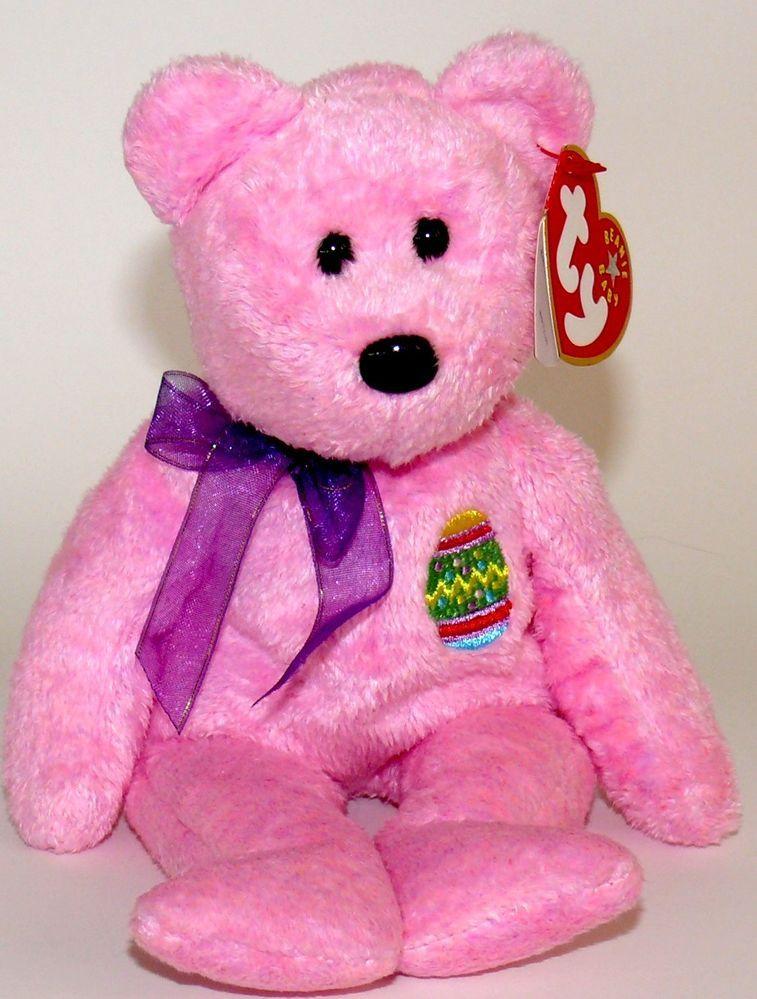 TY BEANIE BABY EGGS THE PINK EASTER BEAR BEANIE BABIES TEDDY ... e0ac9cc9d89c