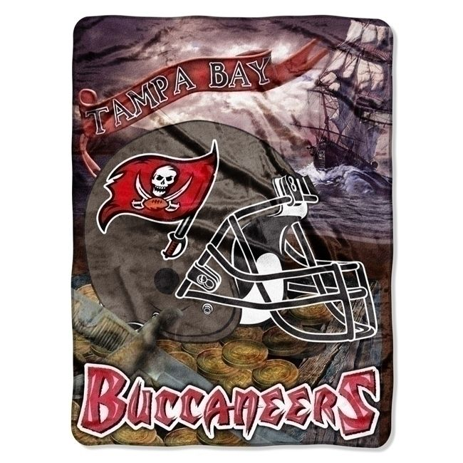 Tampa Bay Buccaneers Large Plush Fleece Raschel Blanket 60 x 80 Team Blanket - Buy at KHC Sports