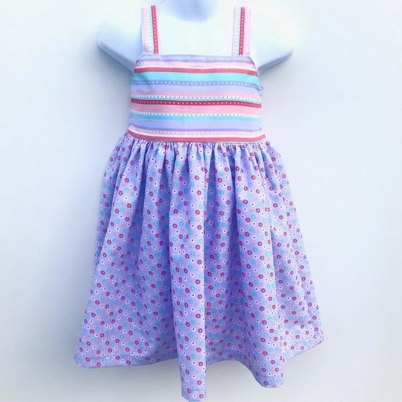 Photo of Little Girls Striped Floral Sundress, Easter Dress, Preschool Lavender and Pink Striped Summer Dress