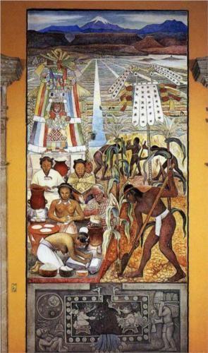The Huastec Civilisation - Diego Rivera / Completion Date: 1950 Style: Muralism Genre: history painting Gallery: Palacio Nacional, Mexico City, Mexico.