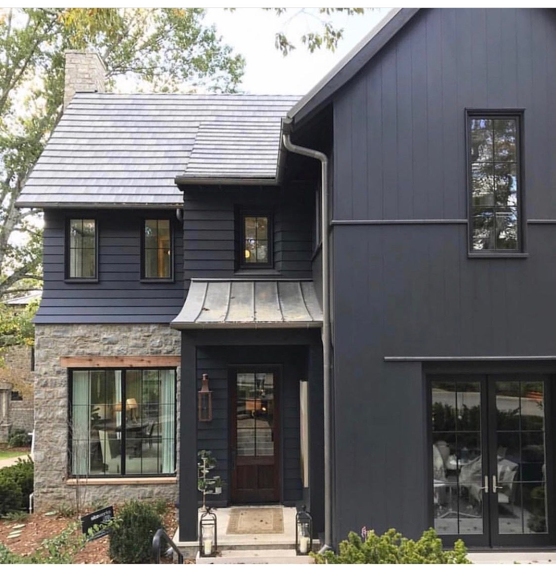 Grey Siding With Black Trim With Black Trim Windows Modern