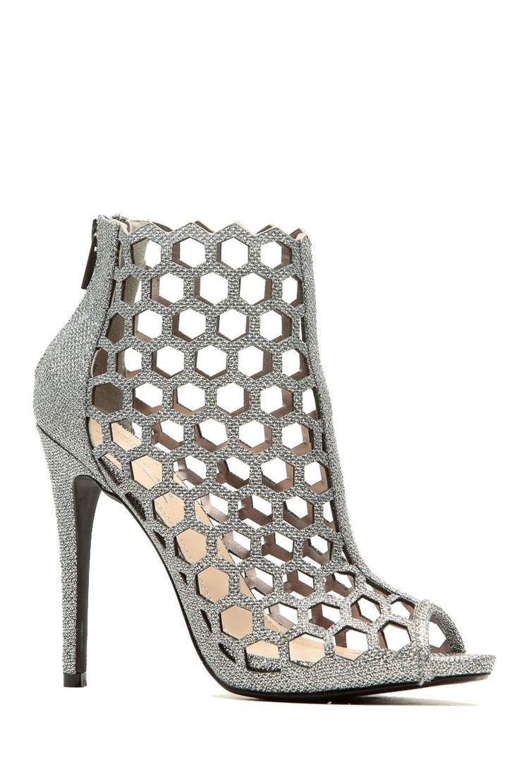 a6cb383970d234 Women s Fashion High Heels   Silver Glitter Piped Cut Out Peep Toe Heels    Cicihot Heel