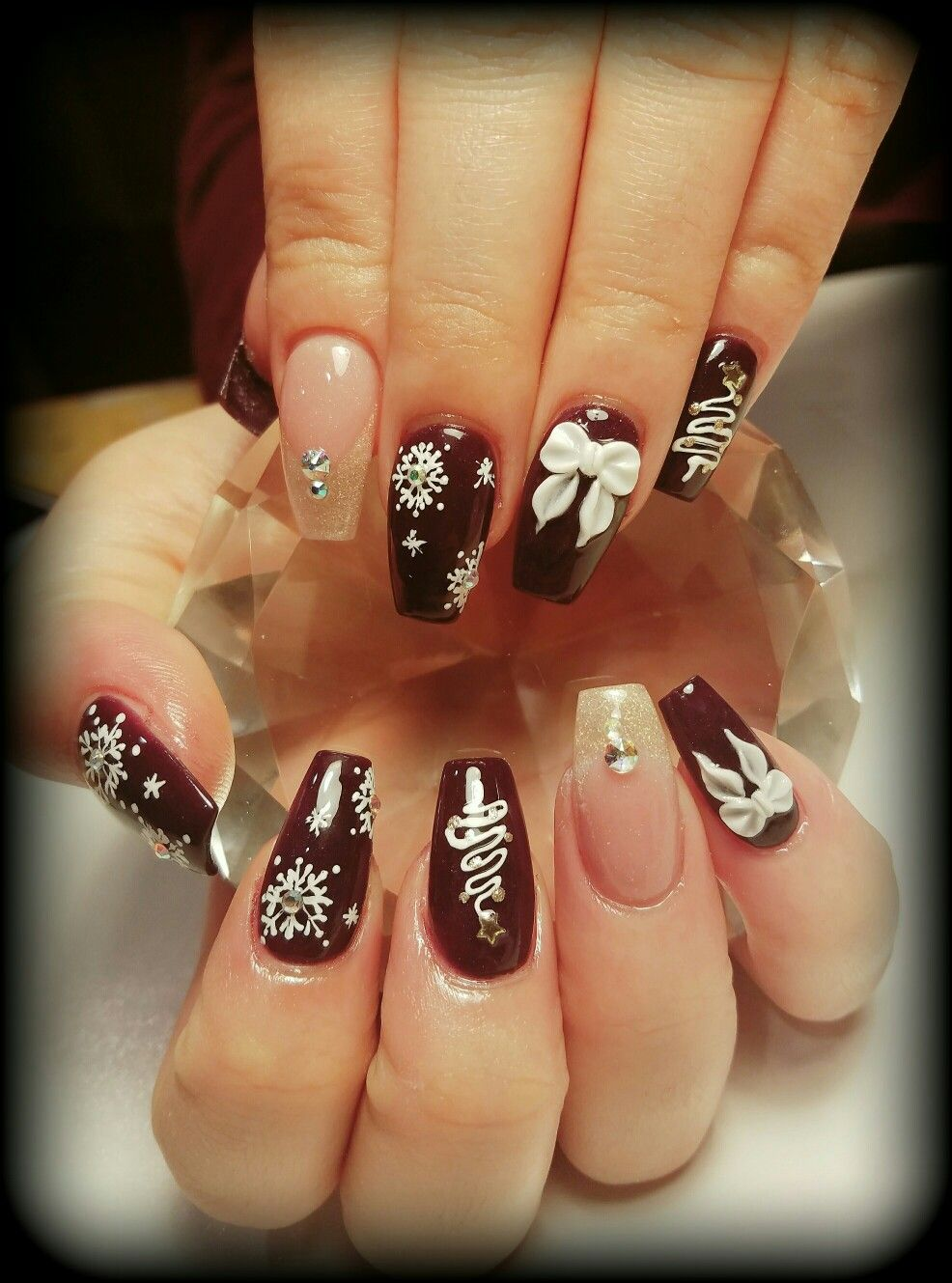 Burgundy Gold And White Christmas Designs Coffin Nails
