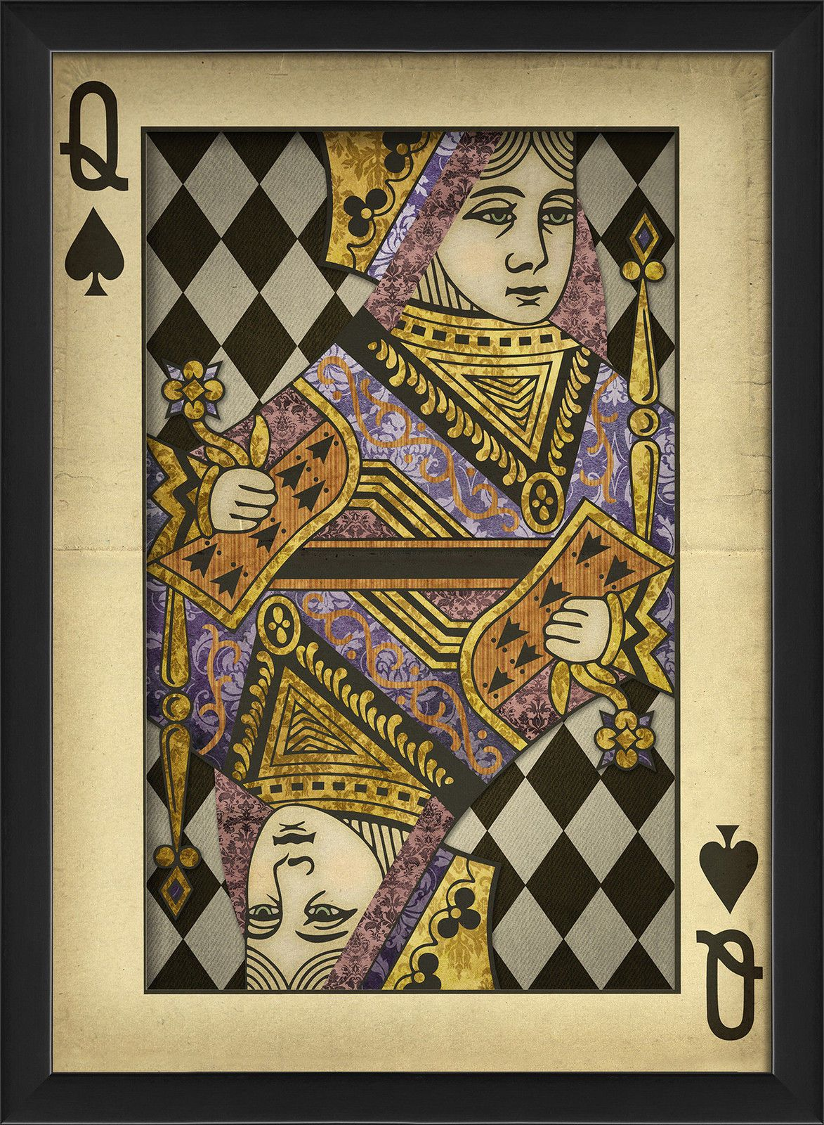 The Artwork Factory Queen of Spades Harlequin Playing Card Framed Graphic Art | eBay