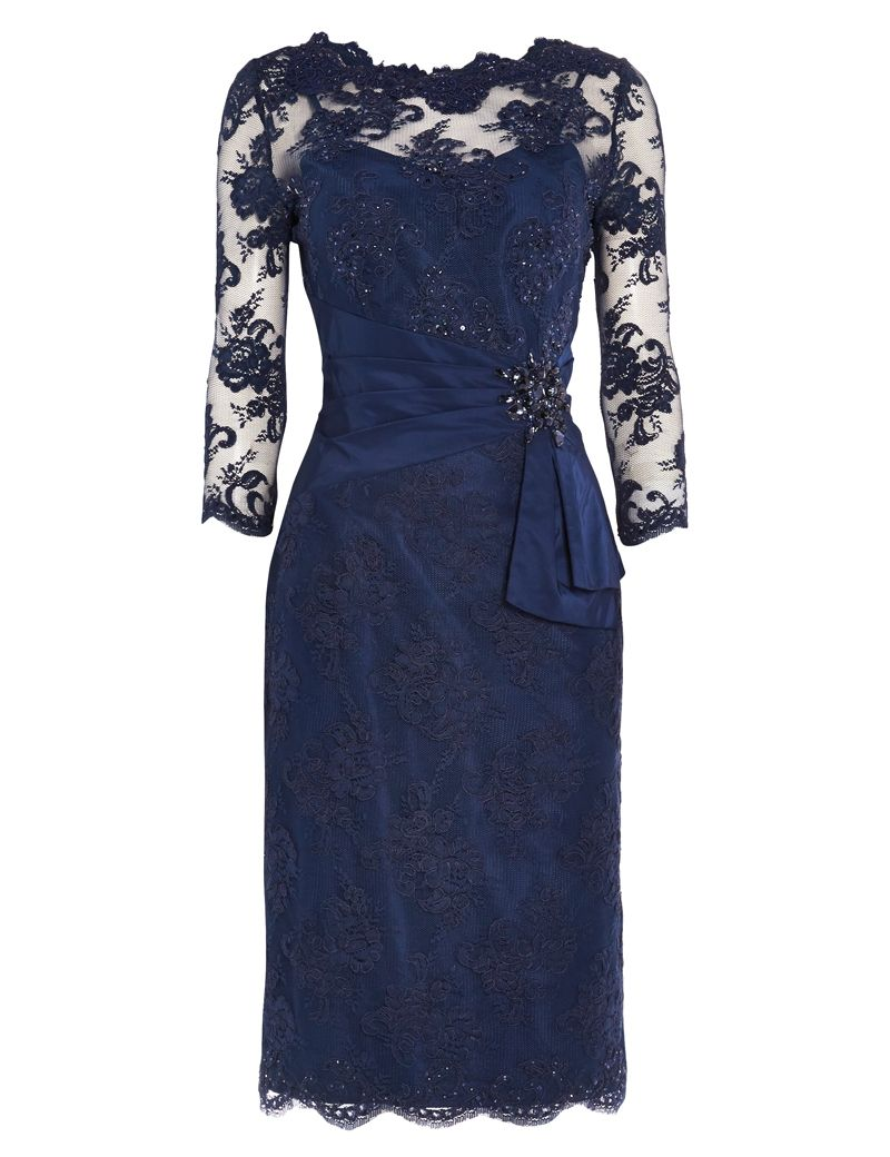 473a5172 Sheath Scalloped-Edge 3/4 Sleeves Navy Blue Lace Mother Of the Bride Dress  with Beading