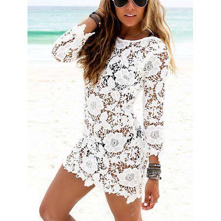 d75a67597ef8e Sweetsmile Women's Long Sleeve Dresses Summer Beach Sexy Lady O-neck ...