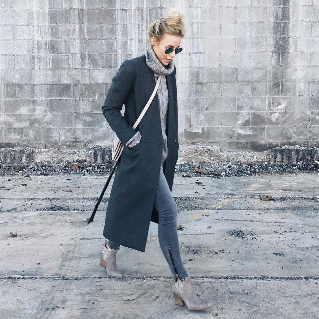 Duster Coat With a Turtleneck and Booties
