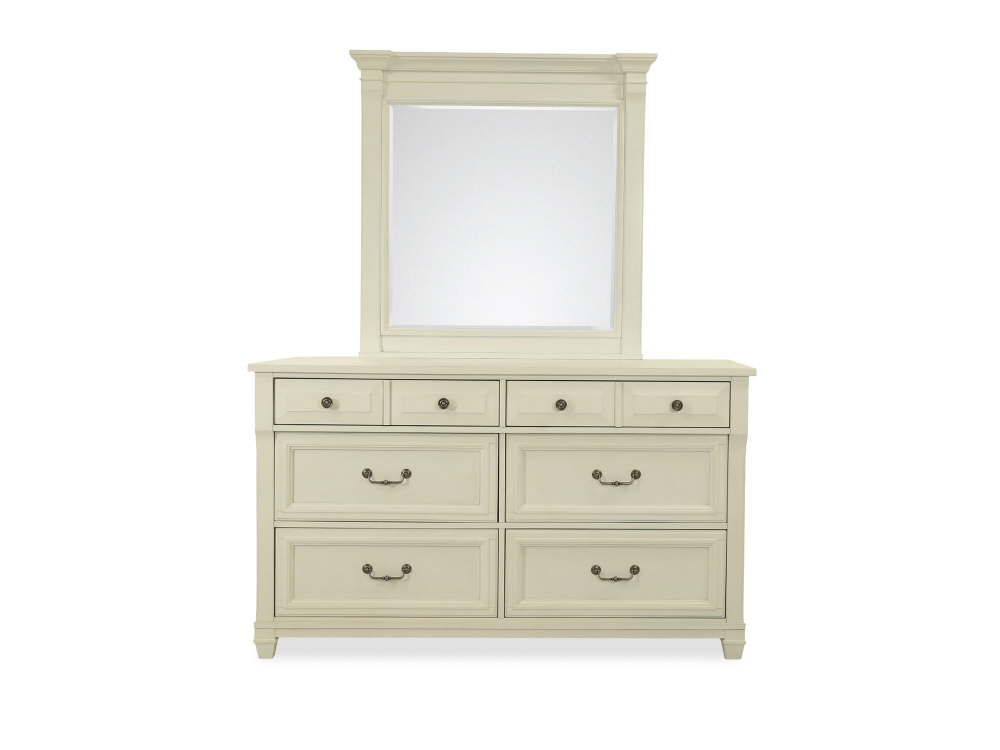 Two Piece Transitional Dresser Mirror In Cotton White Mathis Brothers Furniture With Storage Bedroom