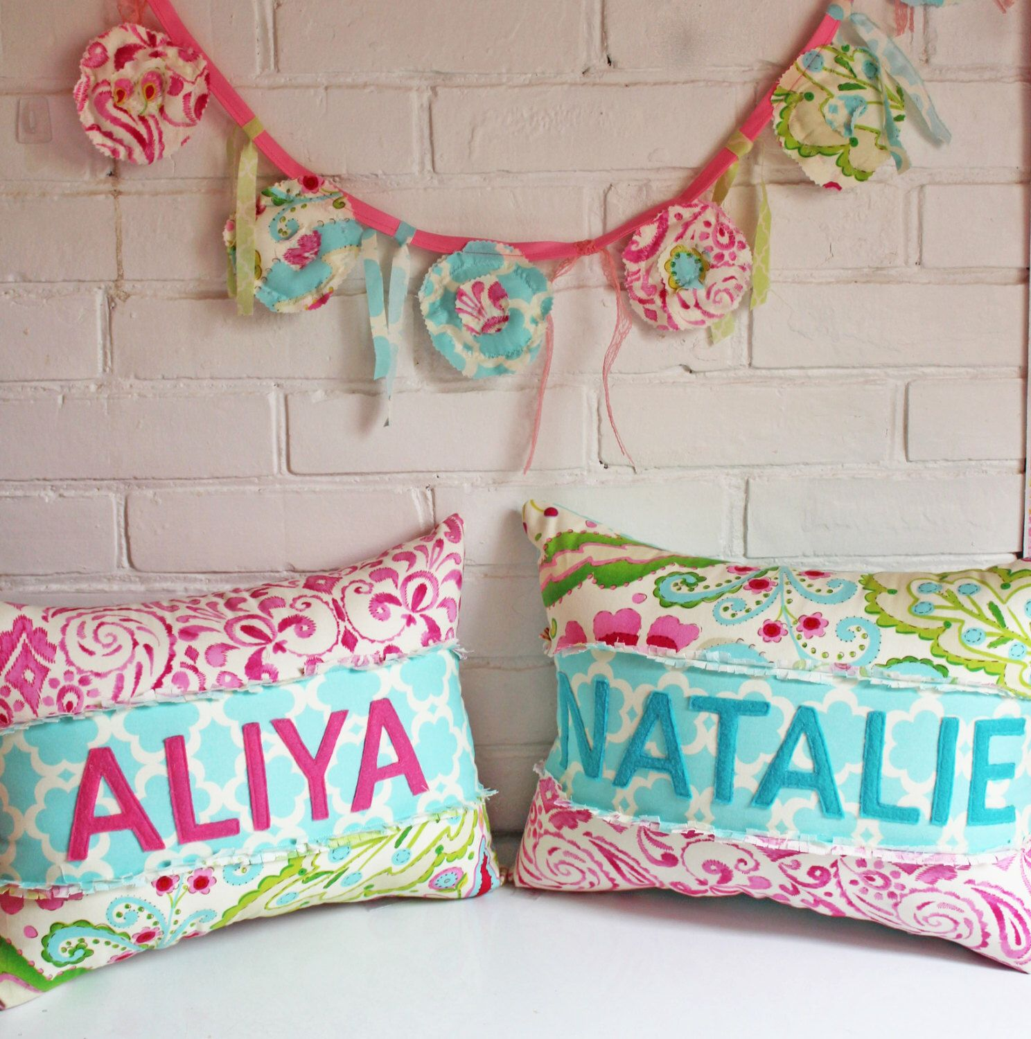 Sweet Word Love Pillow Or Personalized Name Pillow Made In With Kumari  Garden Fabric In A Rag Patchwork Style! Comes All Ready Stuffed!