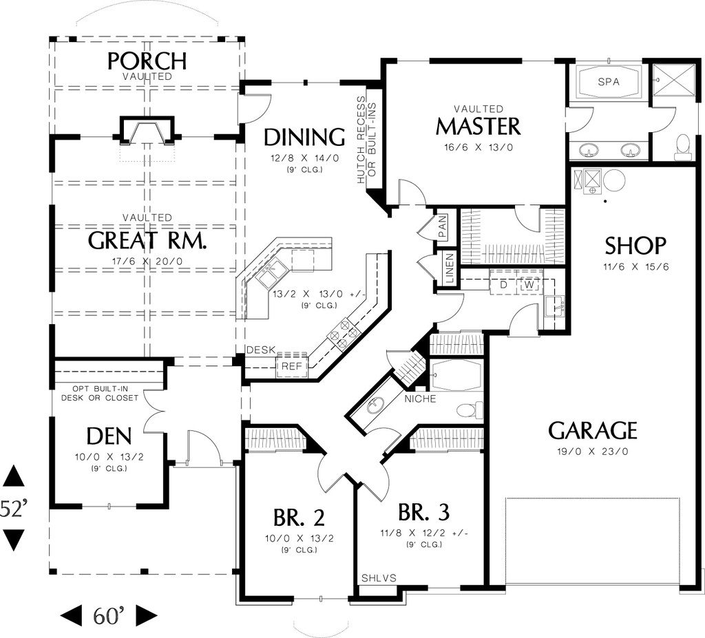 Main level floor plan 2000 square foot Craftsman home