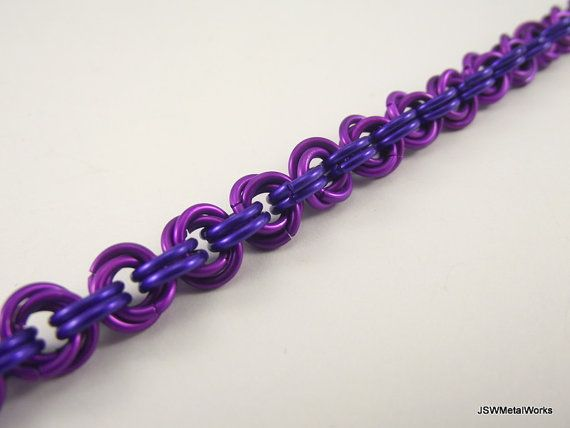 Violet and Purple Chainmail Bracelet Aluminum by JSWMetalWorks