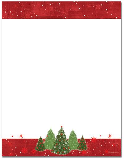 Snowy Trees Foil Letterhead  Holiday Papers