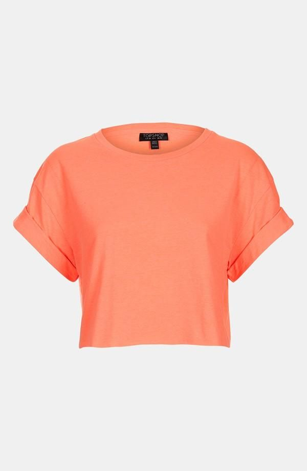 62f8476ddd5 I love this block colour Crop top! Peach crop top from TopShop, #peach #top  #TopShop