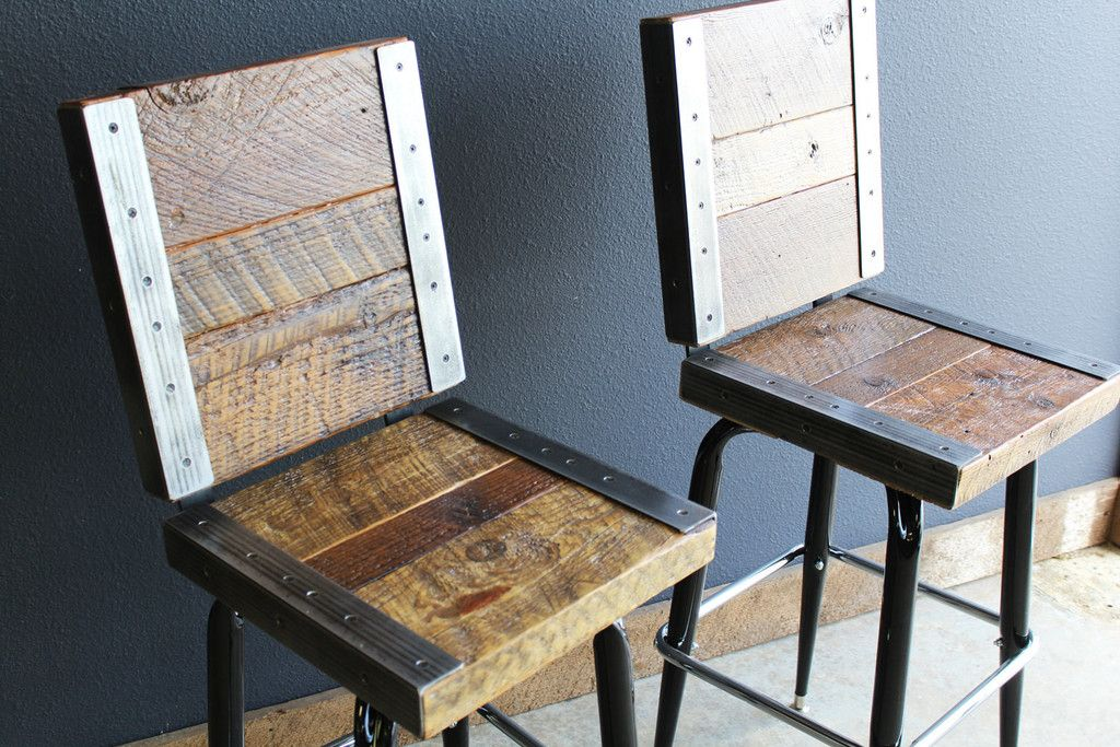 2 Restaurant Bar Stools With Backs Made With Old Reclaimed Barn