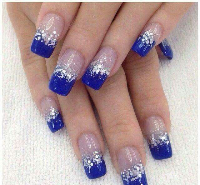 blue & silver nail art