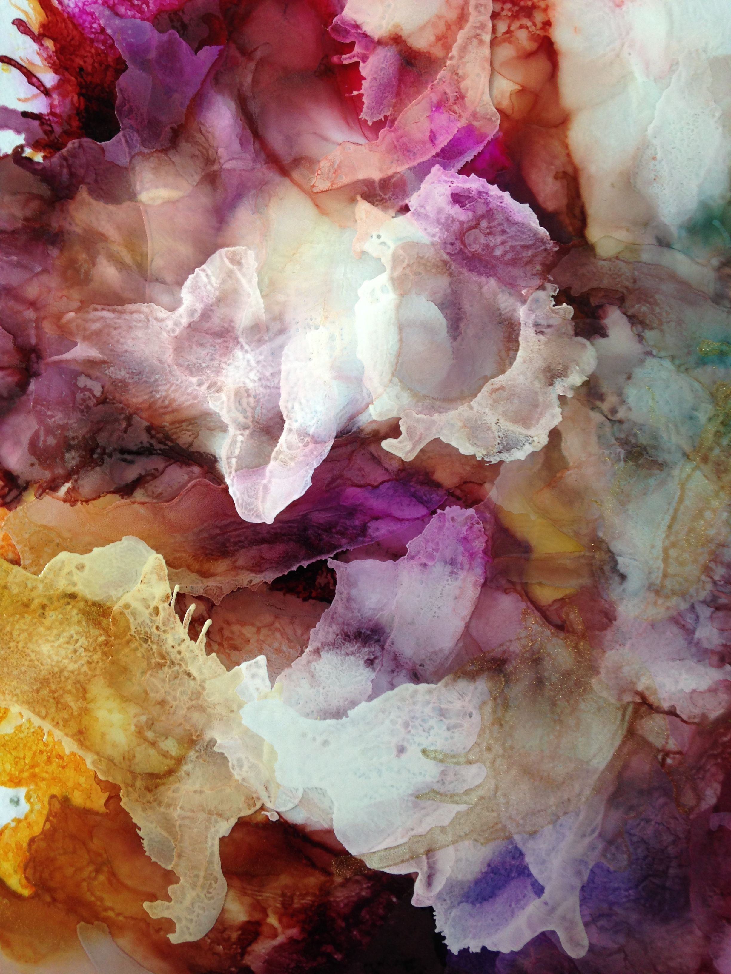 Undersea Flowers abstract alcohol ink on acetate by Linda ...
