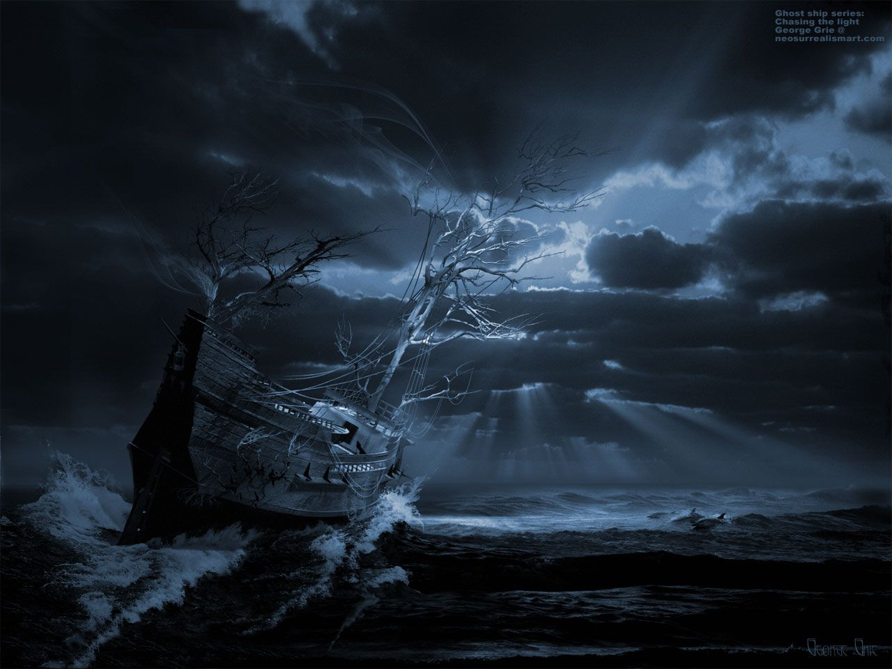 Fantasy ship cliff jolly roger pirate ship rock lightning wallpaper - Google Image Result For Http Neosurrealismart Com Modern Art Prints 3fimages Ghost Ship Series Chasing The Light Jpg George Grie