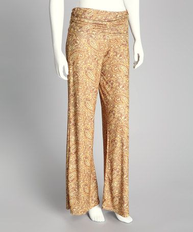 Take a look at this Gold Paisley Palazzo Pants - Women by Unaluna on #zulily today! $40 !!