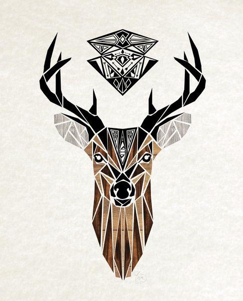 oh deer art print graphic sketches cerf tatouage tatouage et cerf geometrique. Black Bedroom Furniture Sets. Home Design Ideas