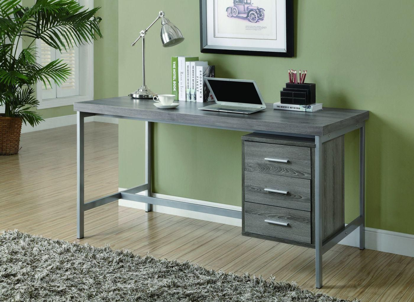 Dark Taupe Reclaimed Look Silver Metal 60 Quot L Office Desk