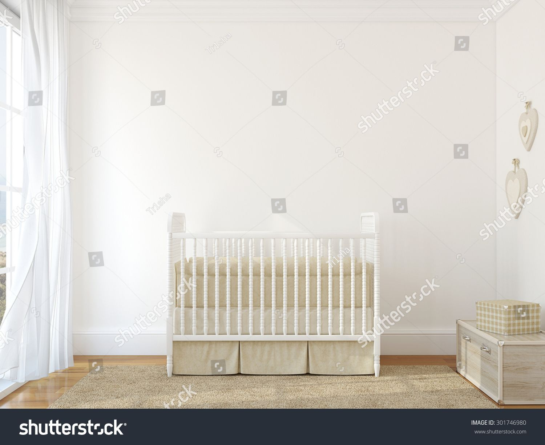 Interior Of Nursery With Vintage Crib Rendering