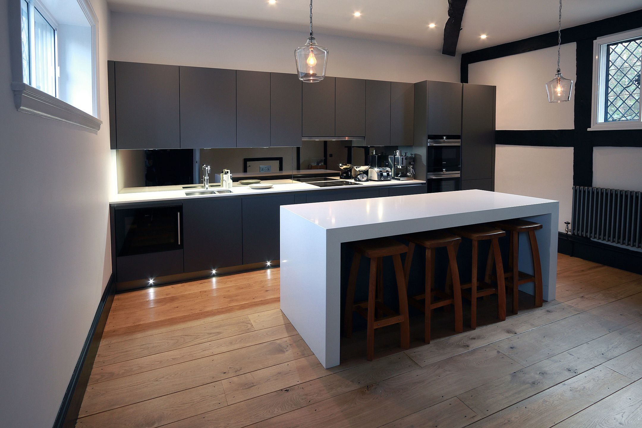 This modern grey kitchen works so well with the chunky