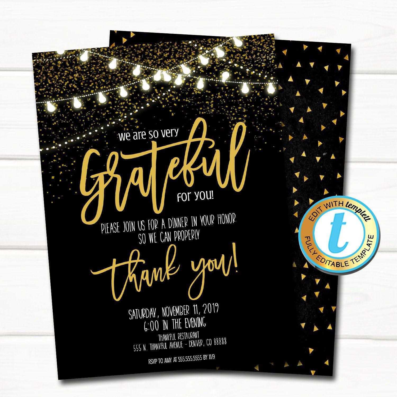 Appreciation Invitation Corporate Event Party Grateful For  Etsy