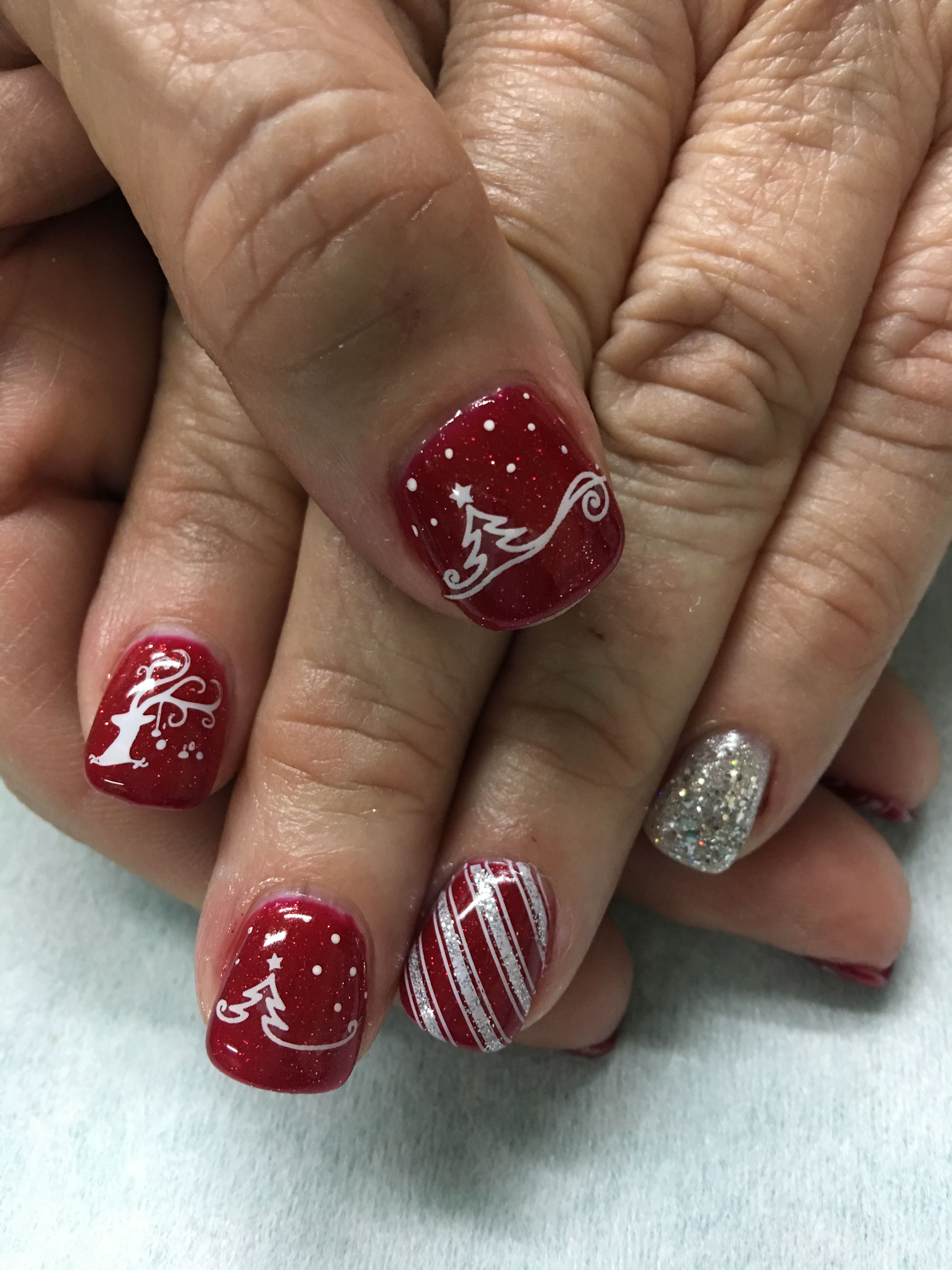 Christmas Nails Red Sparkle Outlined Tree Candy Cane Reindeer Glitter Gel Nails Glitter Gel Nails Christmas Nails Red Nails