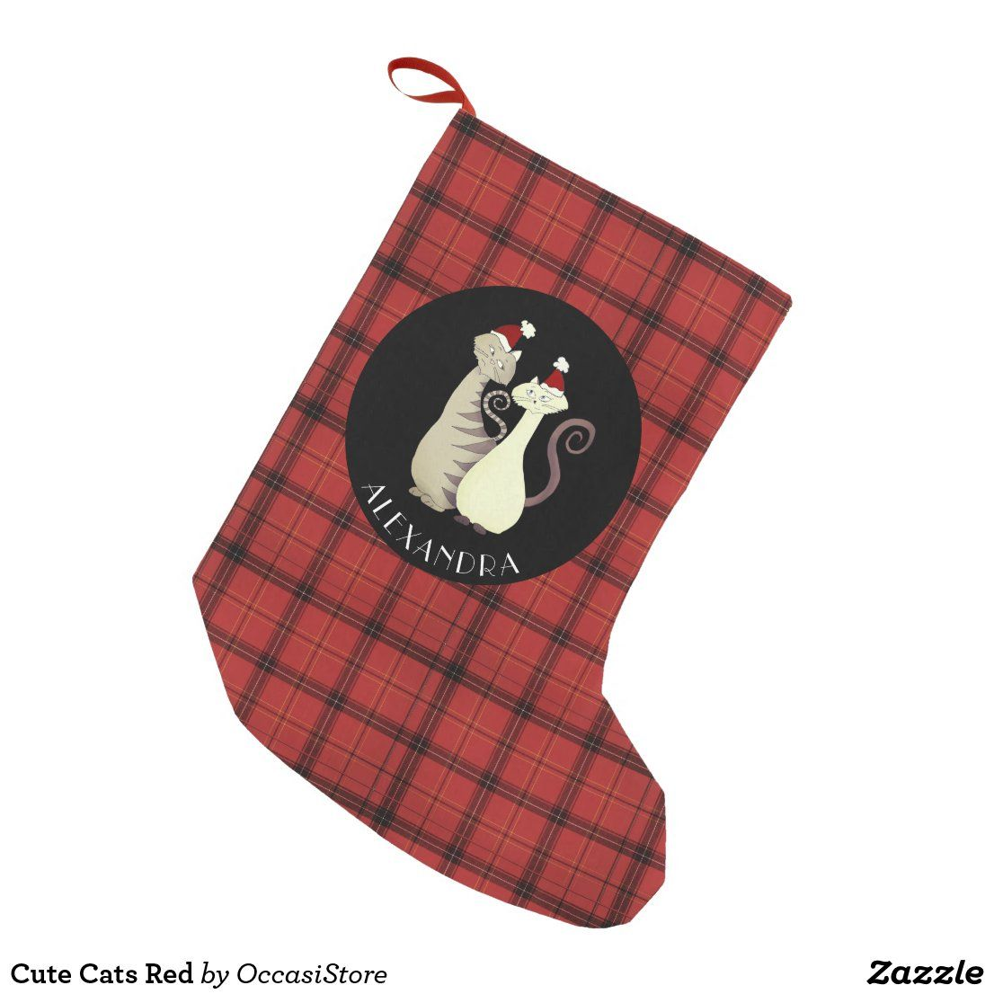 Cute Cats Red Small Christmas Stocking Zazzle Com In 2020 Small Christmas Stockings Personalized Stockings Christmas Stockings