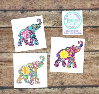 Lilly Inspired Elephant Vinyl Decal With Monogram Car Decal - Elephant monogram car decal