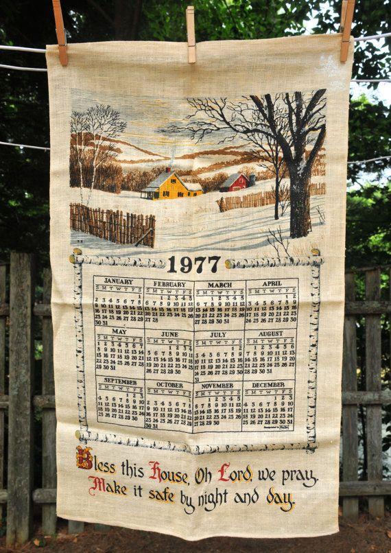 Vintage 1977 Calendar Tea Towel Bless This By Cicelyscloset