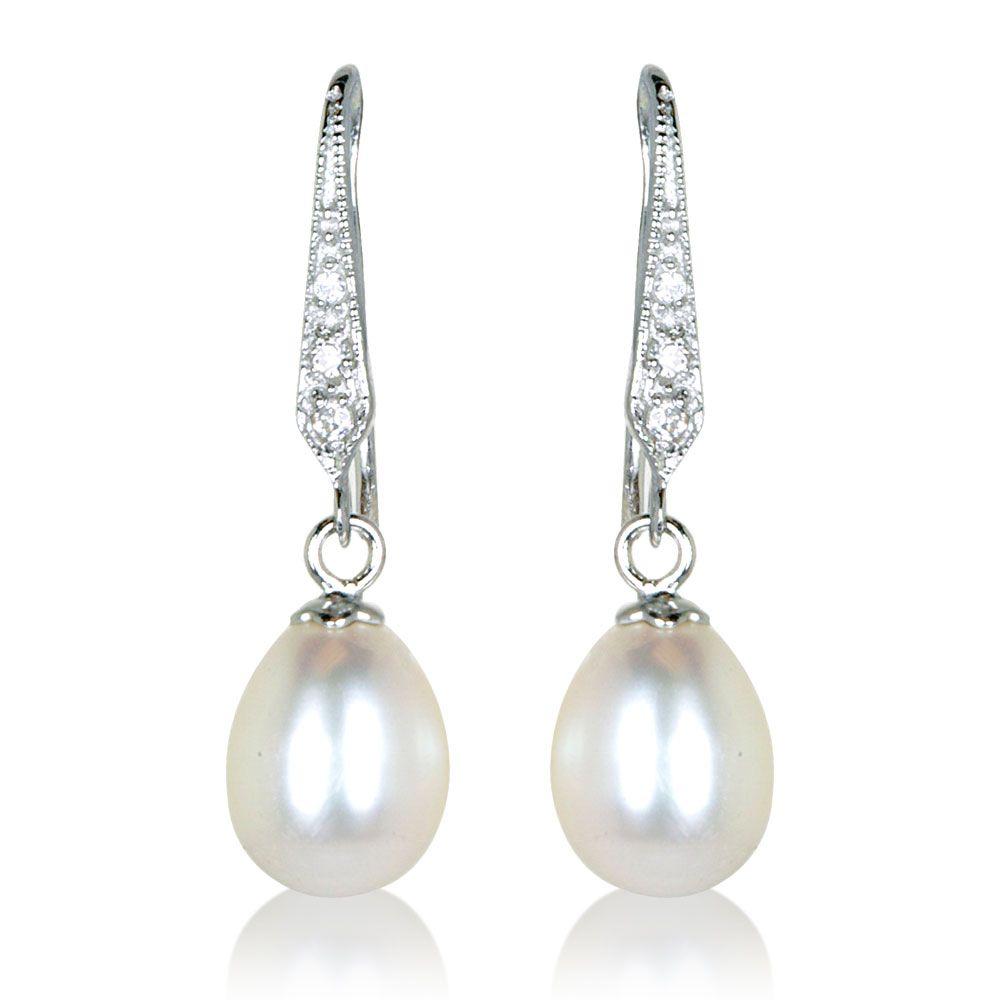 Fine Jewelry Cultured Freshwater Pearl & Brilliance Bead Sterling Silver Drop Earrings oIeYDSWTPc