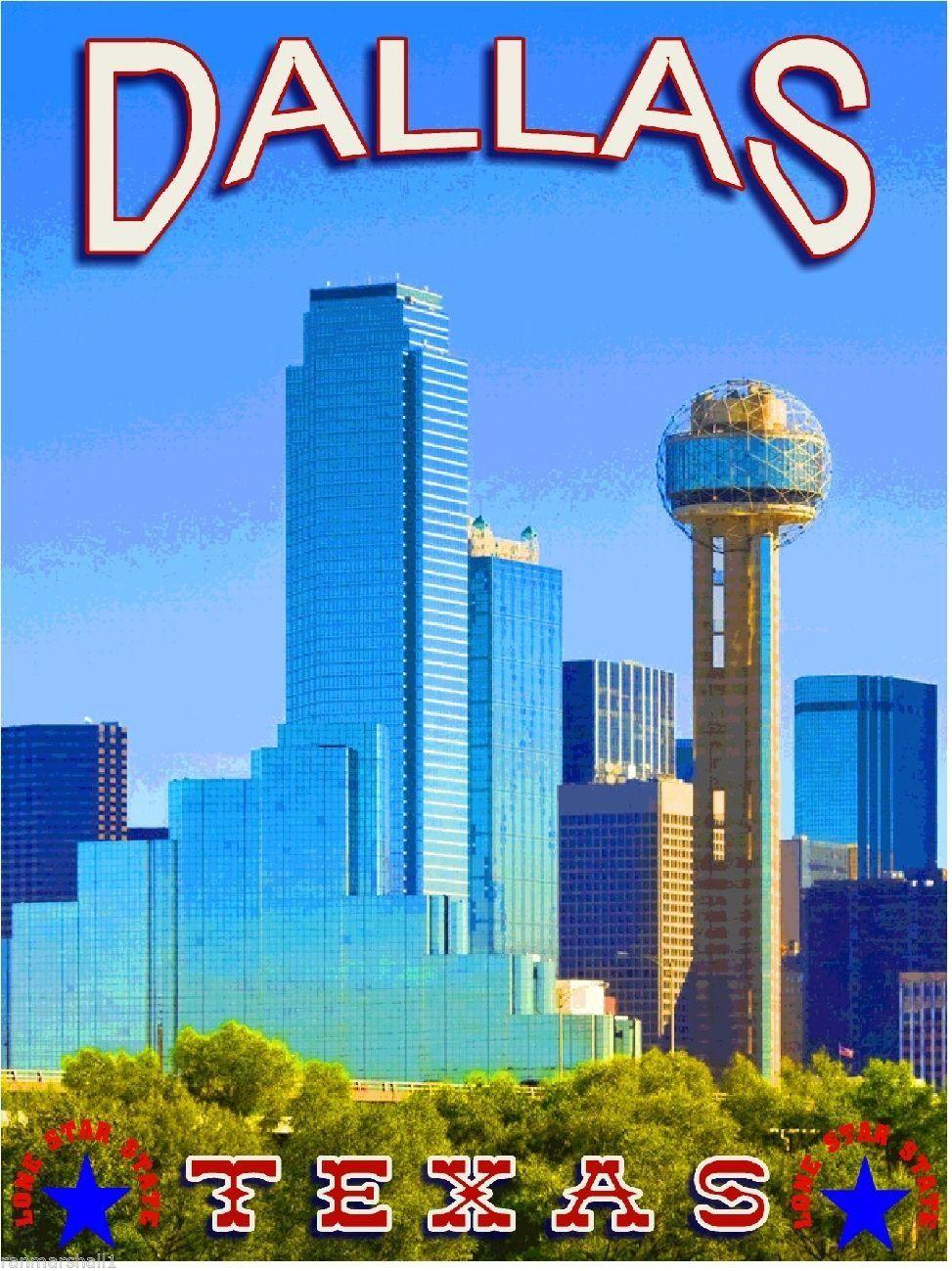 Dallas Texas Skyline United States of America Travel Art
