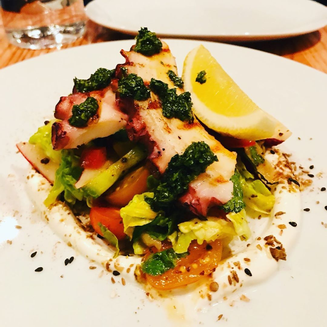 Grilled Octopus fattoush salad, labneh, chermoula#mtl