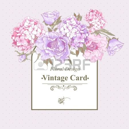 Vintage Greeting Card With Hydrangea And Peonies Vintage Cards Vintage Greeting Cards Vintage Floral