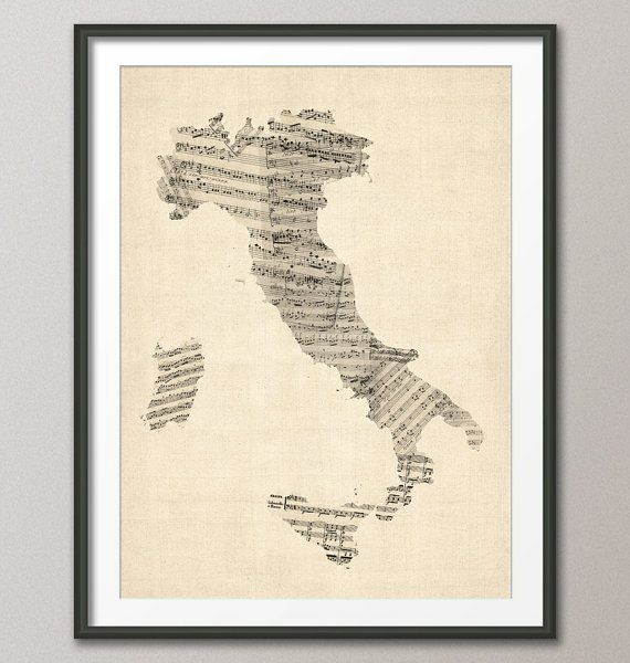 Old Sheet Music Map of Italy Map Art Print 18x24 inch by artPause, £14.99